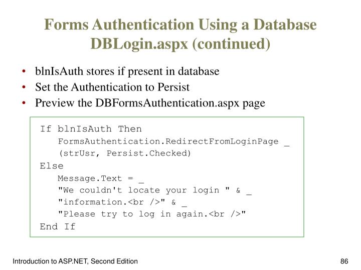 Forms Authentication Using a Database DBLogin.aspx (continued)
