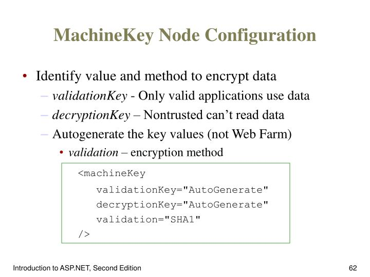 MachineKey Node Configuration