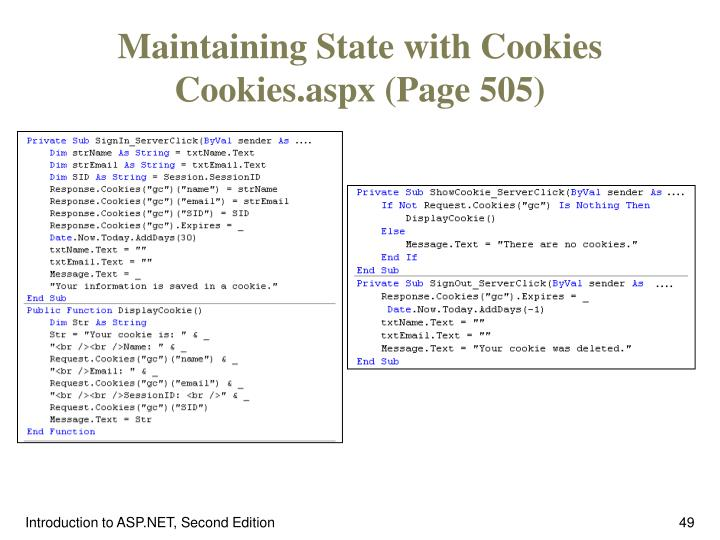 Maintaining State with Cookies Cookies.aspx (Page 505)