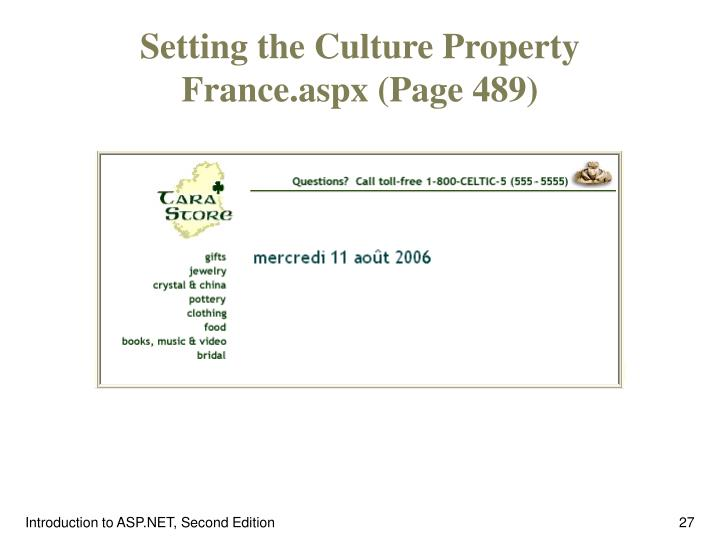 Setting the Culture Property France.aspx (Page 489)