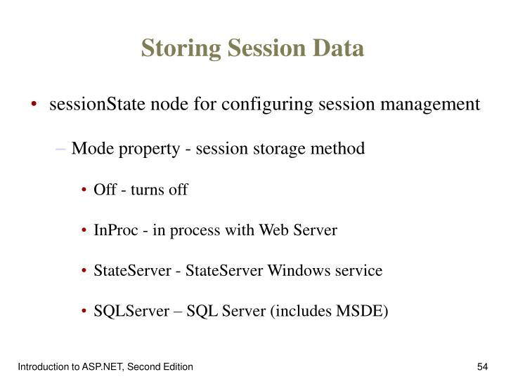 Storing Session Data