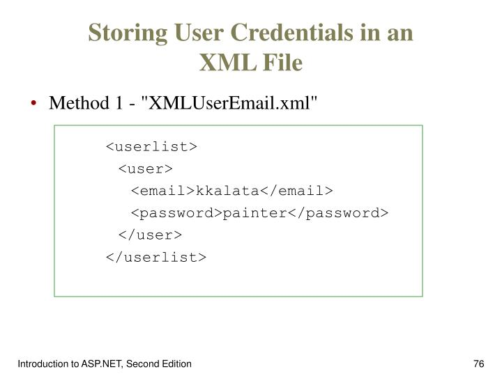 Storing User Credentials in an