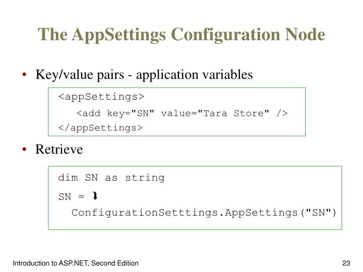 The AppSettings Configuration Node