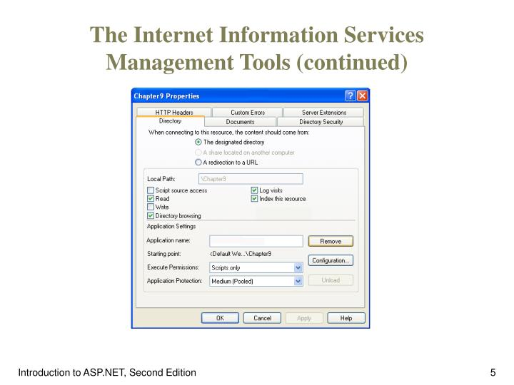 The Internet Information Services Management Tools (continued)