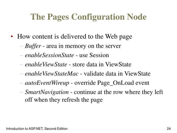 The Pages Configuration Node
