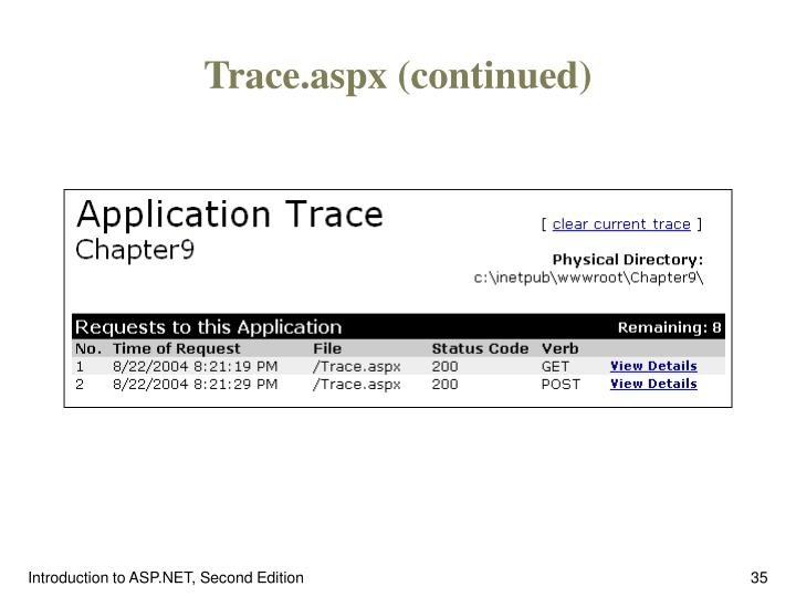 Trace.aspx (continued)