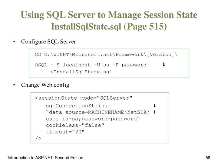 Using SQL Server to Manage Session State