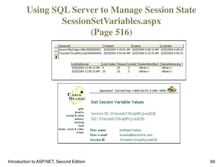 Using SQL Server to Manage Session State SessionSetVariables.aspx