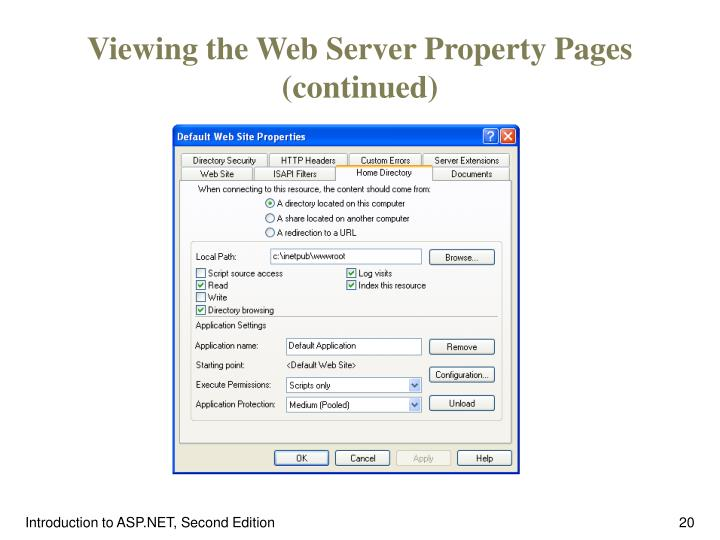 Viewing the Web Server Property Pages (continued)