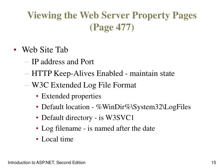 Viewing the Web Server Property Pages