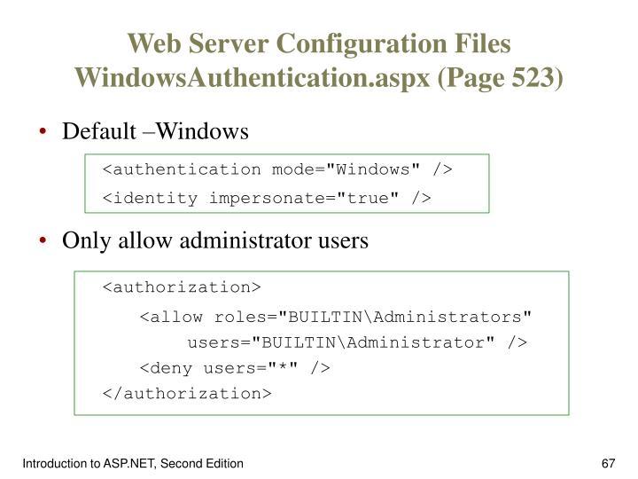 Web Server Configuration Files
