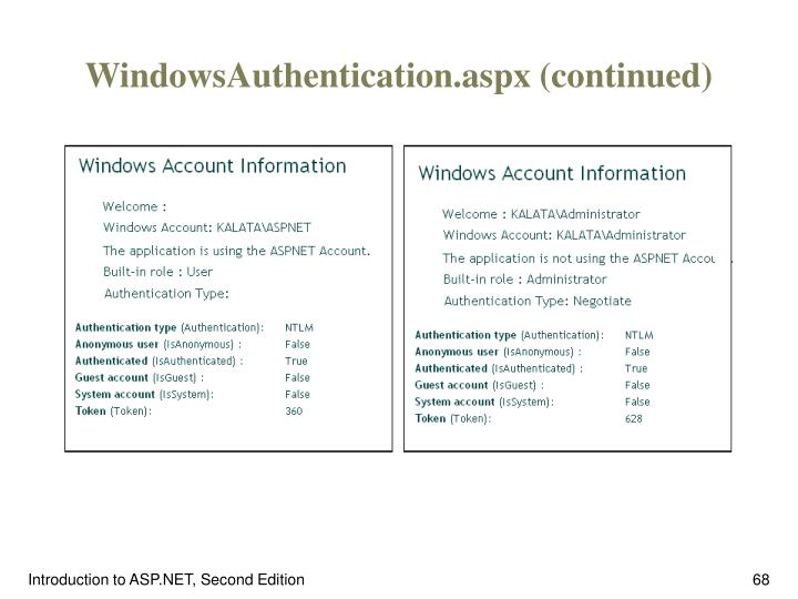 WindowsAuthentication.aspx (continued)