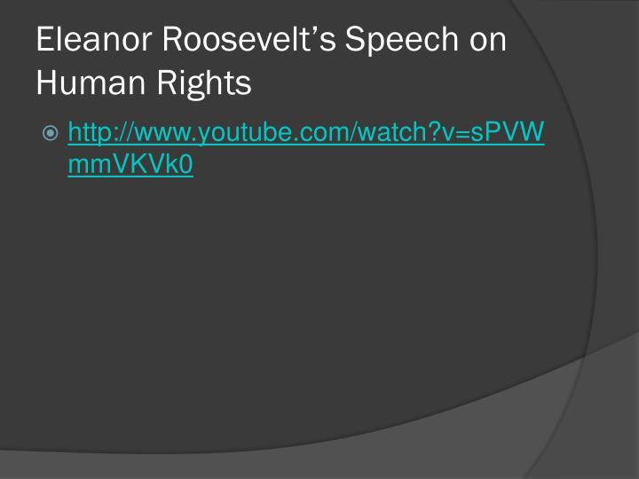Eleanor Roosevelt's Speech on Human Rights
