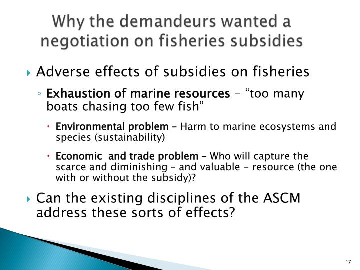 Adverse effects of subsidies on fisheries