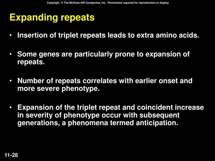 Expanding repeats