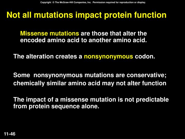 Not all mutations impact protein function
