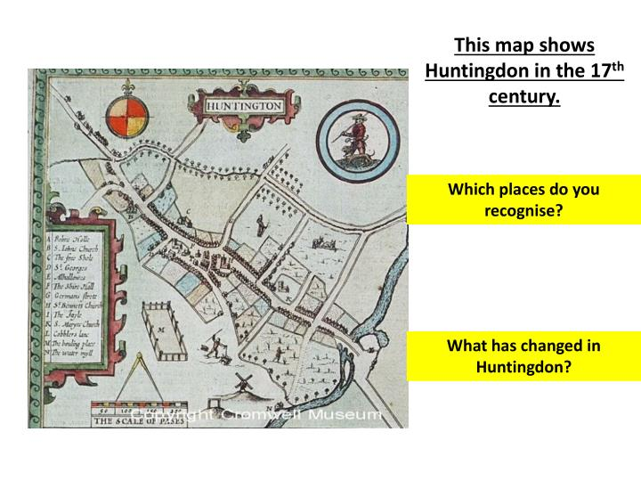 This map shows Huntingdon in the 17