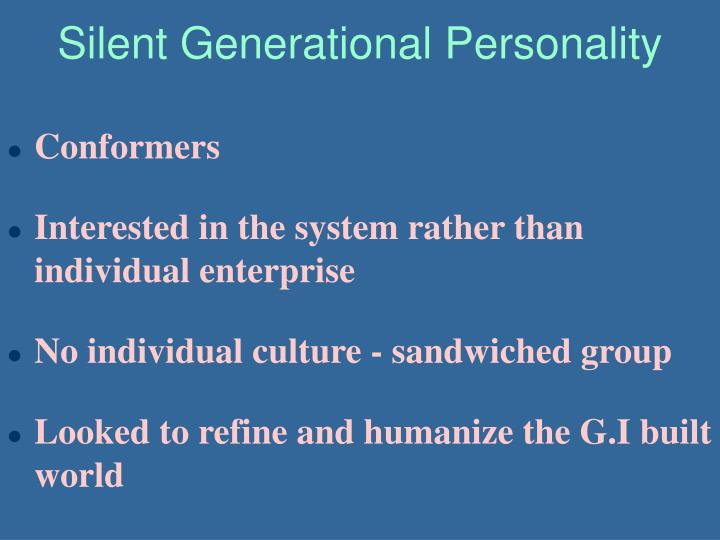 Silent Generational Personality
