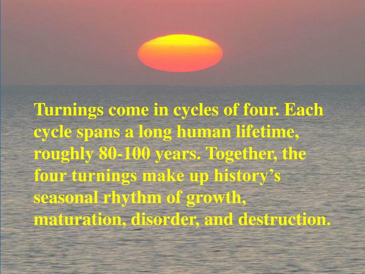 Turnings come in cycles of four. Each cycle spans a long human lifetime, roughly 80-100 years. Together, the four turnings make up history's seasonal rhythm of growth, maturation, disorder, and destruction.
