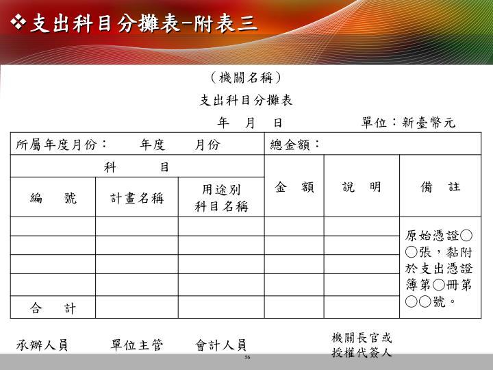 支出科目分攤表