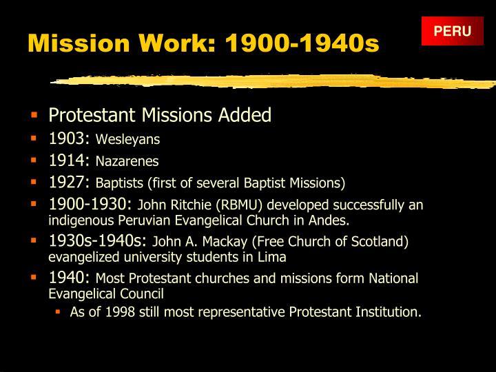 Mission Work: 1900-1940s