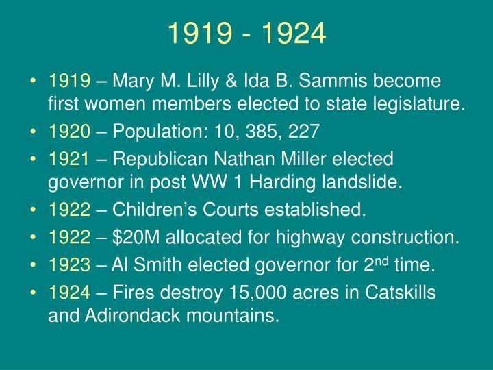 1919 - 1924