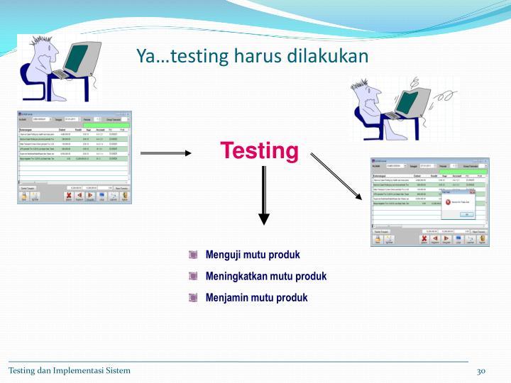 Ya…testing harus dilakukan