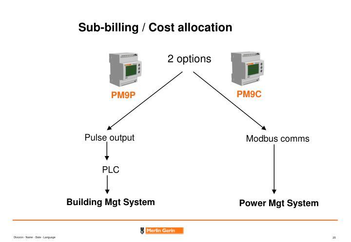 Sub-billing / Cost allocation