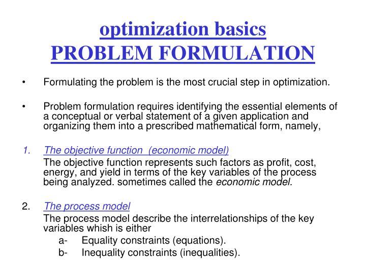 optimization basics