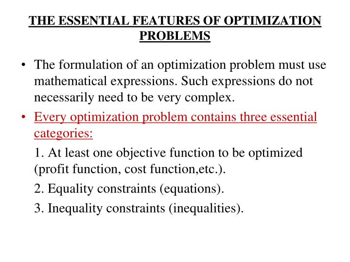 THE ESSENTIAL FEATURES OF OPTIMIZATION PROBLEMS