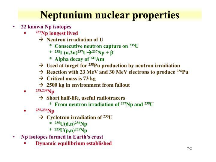 Neptunium nuclear properties