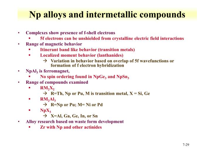 Np alloys and intermetallic compounds