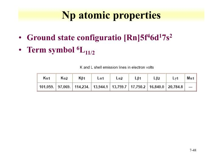 Np atomic properties