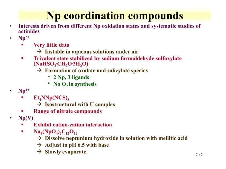 Np coordination compounds