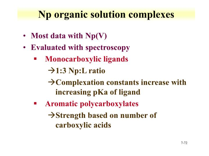Np organic solution complexes