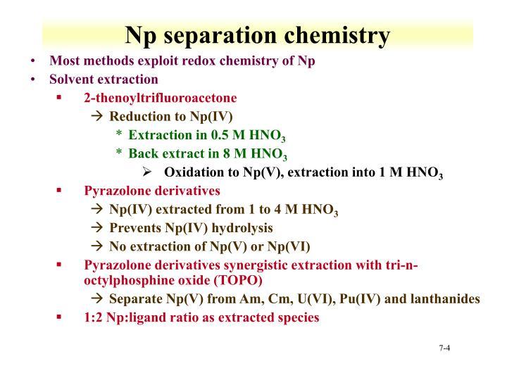Np separation chemistry