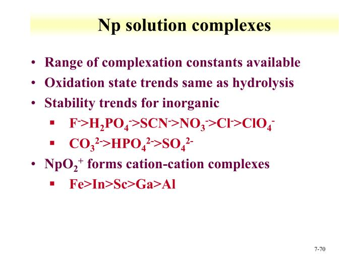 Np solution complexes