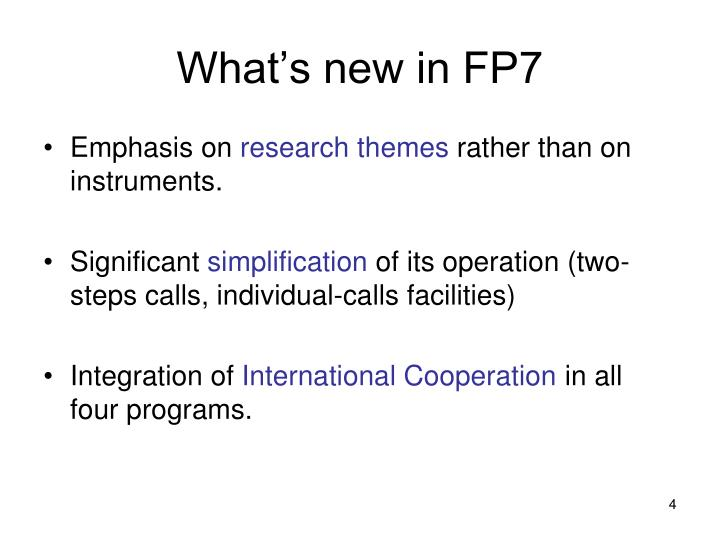 What's new in FP7