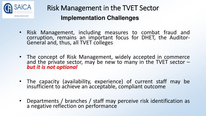 Risk Management in the TVET Sector
