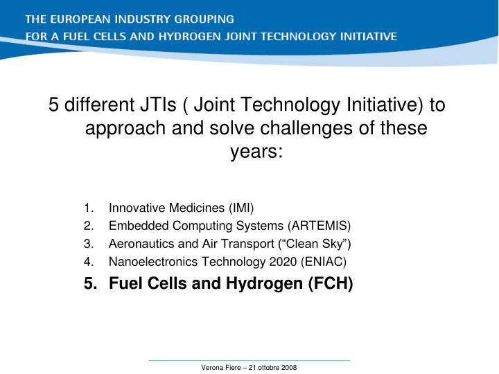 5 different JTIs ( Joint Technology Initiative)
