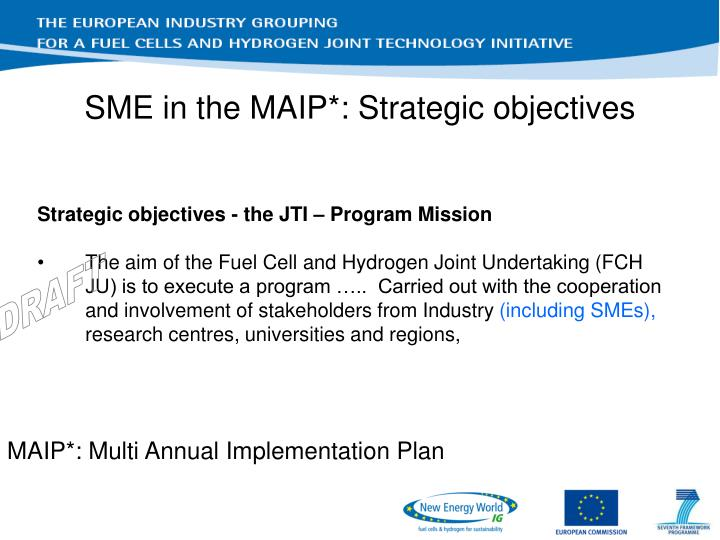 SME in the MAIP*: Strategic objectives