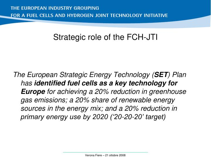 Strategic role of the fch jti