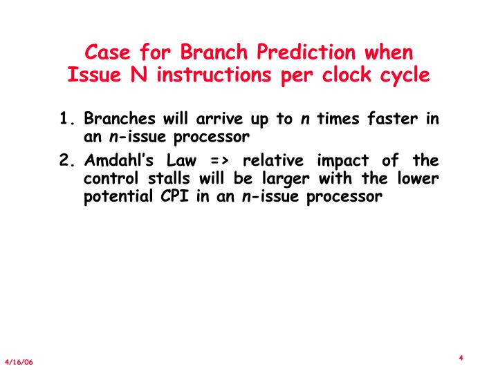 Case for Branch Prediction when