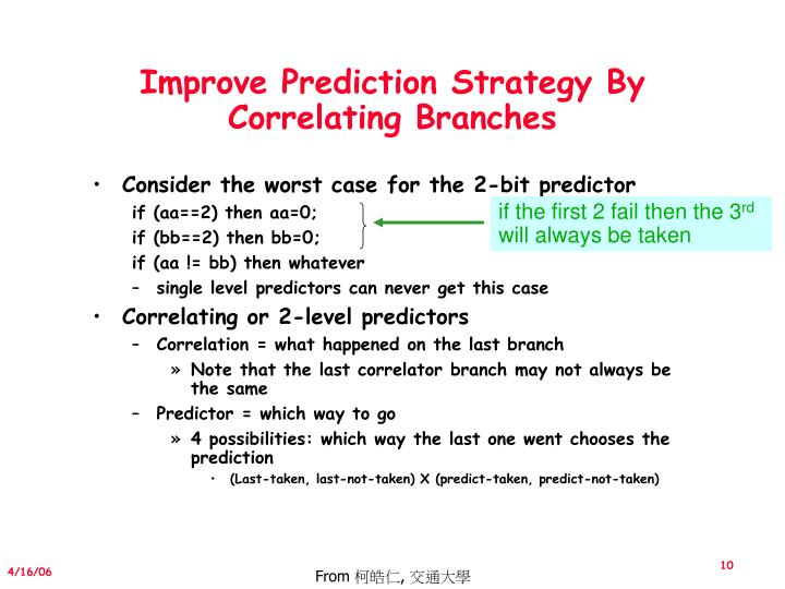 Improve Prediction Strategy By Correlating Branches
