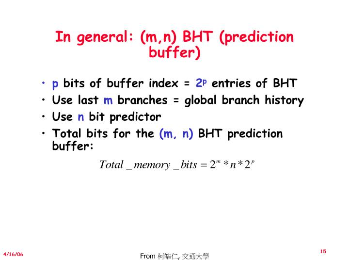 In general: (m,n) BHT (prediction buffer)