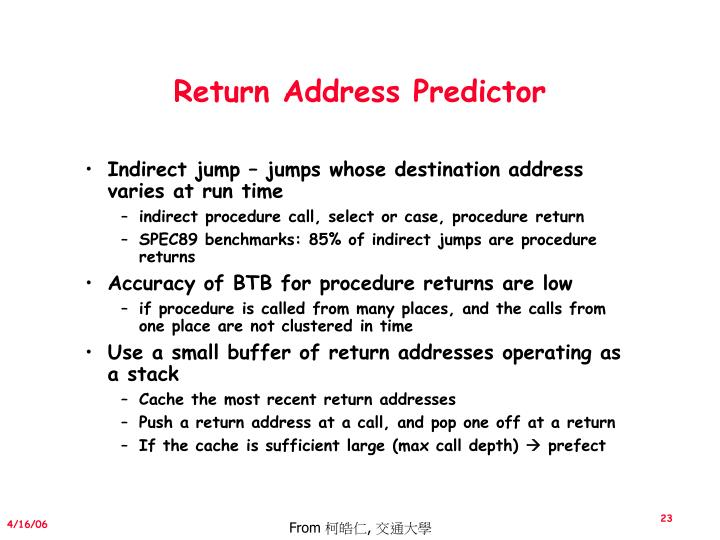 Return Address Predictor