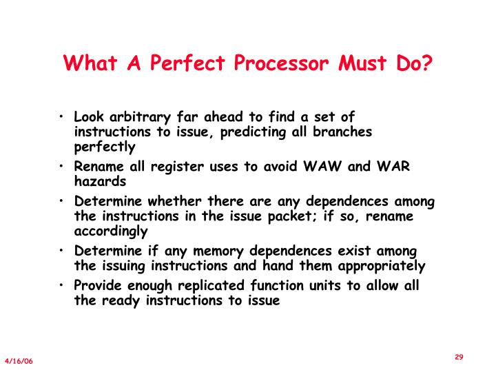 What A Perfect Processor Must Do?