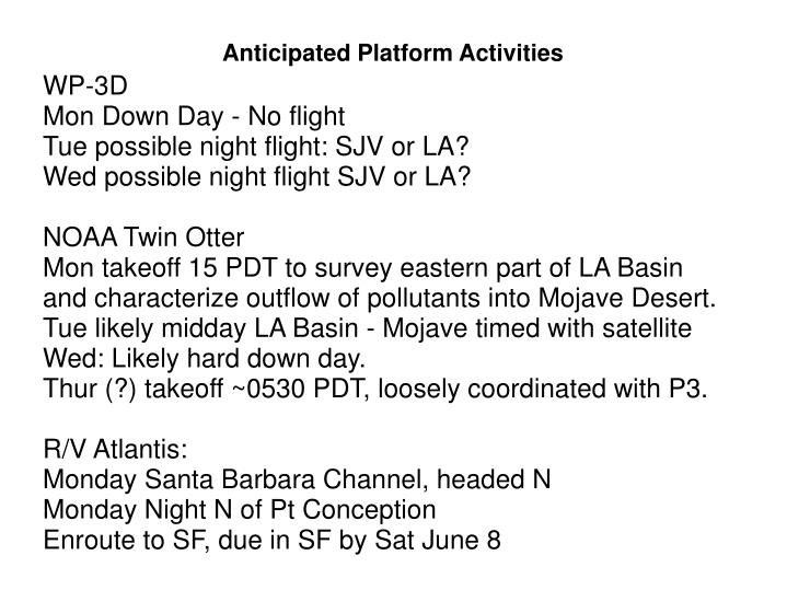 Anticipated platform activities