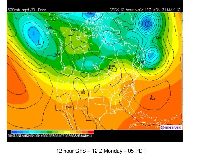 12 hour GFS – 12 Z Monday – 05 PDT