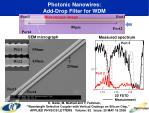 photonic nanowires add drop filter for wdm